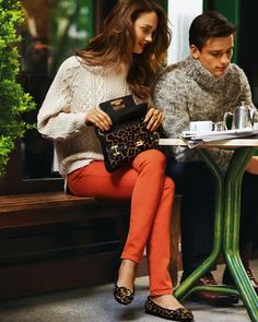cream sweater + curls + red lipstick + pumpkin skinnies -Michael Kors