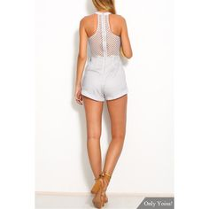 White Sleeveless Mesh and Lace Overlay Details Playsuit ❤ liked on Polyvore featuring jumpsuits, rompers, sleeveless romper, open back romper, summer rompers, open-back rompers and sleeveless rompers