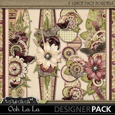 Remember When Digital Scrapbook Kit, Vintage, Shabby, Elegant, Heritage, Page Borders
