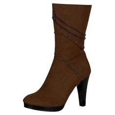 Reneeze SHIRLEY-4 Women's High-Heels Mid-Calf Platform Boots - Brown, Size 6