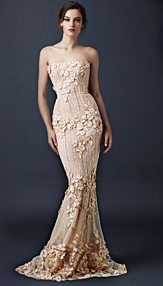 Beaded column dress with scattered floral embellishment from the Paolo Sebastian 2015 AW collection // The Sleeping Garden: Paolo Sebastian's Autumn/Winter 2015 Collection 2015 Wedding Dresses, Wedding Gowns, Prom Gowns, Wedding Pics, Wedding Blog, Couture Collection, Dress Collection, Winter Collection, Paolo Sebastian Wedding Dress