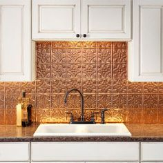 Fasade Traditional 1 x Polished Copper Backsplash Panels at Lowe's. Transform an ordinary kitchen or bathroom into a stylish space. Decorative thermoplastic backsplash panels for use in kitchens and bathrooms provide the Decor, Copper Backsplash, Backsplash Panels, Tin Backsplash, Copper Kitchen, Kitchen Remodel, Decor Inspiration, New Kitchen, Kitchen Design