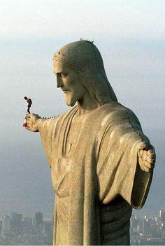 Felix Baumgartner on the Christ the Redeemer, Rio de Janeiro, Brazil.