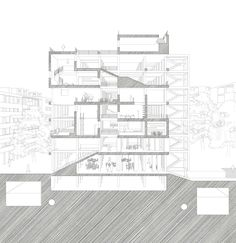 .Unit Section.   The space takes the form of a dynamic multileveledlabyrinth where disorientation is privilegedand changes in levels, setbacks and ledges providethe ground for spontaneous and informal interactions.