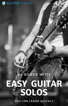 We've compiled a list of songs with easy guitar solos, and links to accurate tabs, that are ideal for beginners, intermediate-level or advanced players. Guitar Songs For Beginners, Guitar Chords For Songs, Guitar Sheet Music, Guitar Solo, Guitar Strumming, Guitar Riffs, Fingerstyle Guitar, Beginner Electric Guitar, Electric Music