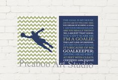 Goal keeper, goalie, soccer girl, soccer quotes, girls sports art, soccer theme room decor, girls room decor, personalized gift for girl Girls Soccer, Nike Soccer, Soccer Cleats, Barcelona Soccer, Fc Barcelona, Soccer Motivation, Soccer Theme, Alex Morgan Soccer, Cristiano Ronaldo Lionel Messi