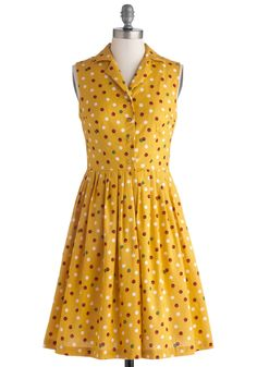 You're In Luck Dress in Lady Bug. How fortunate for you to stumble upon this darling, ModCloth-exclusive frock from Bea  Dot - the polka-dots, ladybugs, and lucky four leaf clovers that decorate this golden-yellow A-line bring your charming daytime look to life! #yellow #modcloth