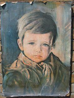 Troostkunst. Jongen met een Traan. Ook bekend als schilderij van huilende zigeunerjongen.