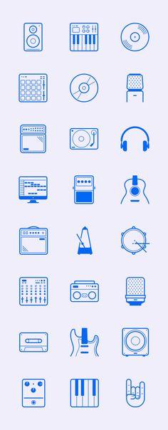 24 iconos vectoriales inspirados en equipos de música