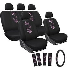 Elibeauty 4//9 pcs Car Seat Covers Butterfly Embroidery Car-Styling Woman Seat Covers Automobiles Car Interior Accessories