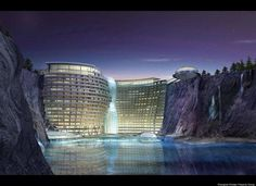 China's love for towering skyscrapers just got turned upside down.Construction is underway to build a luxury resort delving 100 meters underground on the side of an abandoned quarry at the foot of Tianmashan Mountain, Smart Planet reports.Surrounded by a theme park, the hotel will have three levels above ground and 16 underground, according to CNN. The 380-room resort will also offer guests spa services, a sports facility and an underwater restaurant, according to Shanghaiist.