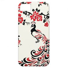 Black, faux red foil #peacock & cherry blossoms #iPhone 5 covers