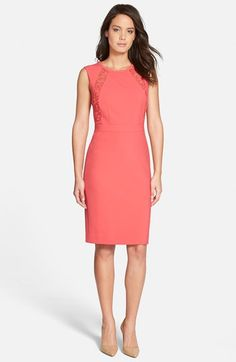 Classiques Entier® 'Colette' Lace Trim Sleeveless Sheath Dress available at #Nordstrom