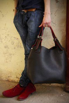 handmade leder handtasche  leder bag   von LADYBUQ auf DaWanda.com