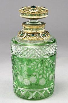 Bohemian cut glass perfume bottle. by sophia