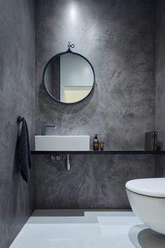 Béton ciré salle de bain grise idées aménagement espaces intérieurs