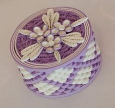 65 Handmade Quilled Wedding Favour Boxes in Lilac White | eBay