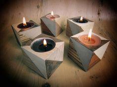 Wooden candle holder tea light. GEOMETRIK. Wood veneers on wood cube. Retro half square triangle pattern in mid-century style. by AMOKORI on Etsy https://www.etsy.com/listing/157543908/wooden-candle-holder-tea-light-geometrik