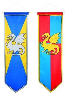 Décoration à suspendre chevalier médiéval : Cette bannière de 100 x 30 cm en tissu est fixée sur un batonnet en bois et pourra être suspendue très facilement à l'aide d'une ficelle. Cet accessoire est...