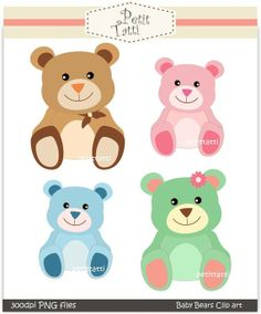 Digital clip art, baby bears, Instant download