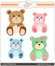 Digital clip art, baby bears, Instant download