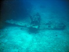 There are some very cool and interesting things to see underwater. This airplane sits at about 90' and is a very popular wreck dive in Jamaica. The engine broke off on impact with the water and sits nearby in a coral reef! You never know what you'll find when you scuba dive Jamaica. #divejamaica