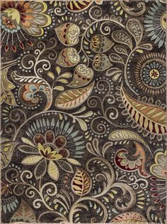 Transitional Area Rugs, Rectangle Area, Floral Area Rugs, Brown Rug, Red Rugs, Power Loom, Throw Rugs, Traditional Design, Paisley
