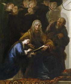 Santa Ana enseñando a leer a la Virgen 1674. Óleo sobre lienzo, 196 x 168 cm. CARREÑO DE MIRANDA, JUAN Avilés (Asturias), 1614 - Madrid, 1685