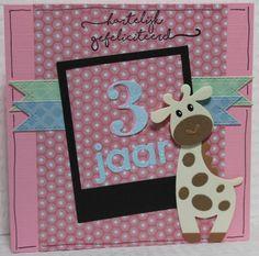 Gemaakt door Joke # Kinderkaart met Giraffe, Sarah 3 jaar