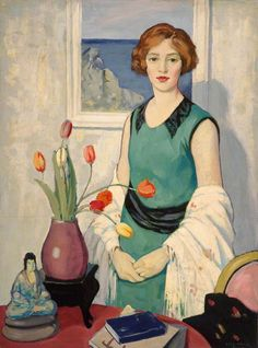 Portrait with Still Life.George Telfer Bear (British, 1876-1973).Oil on board.City of Edinburgh Council. In 1931, Bear was one of six artists to exhibit as 'Les Peitres Ecossais' at the Galeries Georges Petit in Paris. Member of the Society of Eight and influenced by his contact there with Cadell. Exhibited regularly at Royal Scottish Academy, Glasgow Institute and overseas.