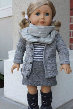 18 inch doll clothes, AG doll clothes, clothes for American girl style dolls, school outfit for 18 inch dolls by GrandmasDollCloset on Etsy