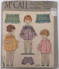 Vintage Sewing Pattern Mccall 1723 Antique Childs Smocked Dress Pattern
