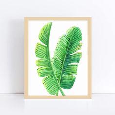 Banana Leaves Art Tropical Leaf Wall Print Yoga