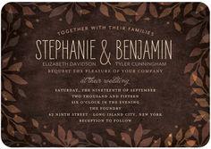 Leaves of Love - Signature White Wedding Invitations - Jenny Romanski - Coffee - Brown : Front