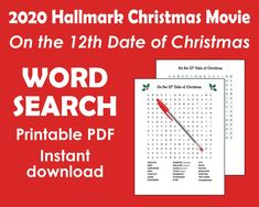 Christmas Word Search Printable Hallmark Christmas Movies | Etsy Unique Gifts For Mom, Cute Gifts, Funny Gifts, Creative Gifts, Gifts For Women, Christmas Words, Best Christmas Gifts, Holiday Words, Christmas Countdown