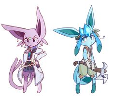 Espeon & Glaceon Commission for Srash and Sonata! A Botanist and an Alchemist? Sounds like a nice team to me! Mega Pokemon, Pokemon Comics, Pokemon Fan Art, Play Pokemon, Pokemon Funny, Pokemon Stuff, Pokemon Eeveelutions, Eevee Evolutions, Cute Pokemon Pictures