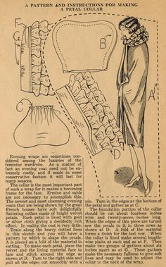 """Vintage Sewing Patterns This sewing tip from Ruth Wyeth Spears and the adds a petal collar to a straight evening cape - a """"luxury of the feminine wardrobe""""! Sewing Hacks, Sewing Tutorials, Sewing Crafts, Sewing Tips, Vintage Sewing Patterns, Clothing Patterns, Shirt Patterns, Dress Patterns, Diy Couture Mode"""