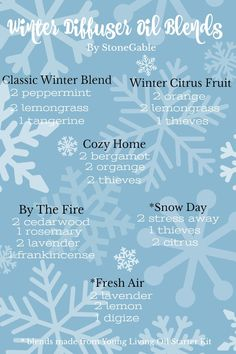 WINTER OIL DIFFUSER RECIPES - StoneGable Winter Oil Blends for Diffusing will chase away the winter blues, keep your home smelling scrumptious and lift your mood! You will love these exclusive StoneGable recipes! Helichrysum Essential Oil, Citrus Essential Oil, Essential Oil Diffuser Blends, Doterra Essential Oils, Young Living Essential Oils, Cedarwood Oil, Diffuser Recipes, The Fresh, Cozy