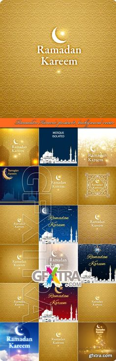 Ramadan Kareem postcard background vector