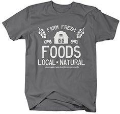 Shirts By Sarah Men's Farm Fresh Foods T-Shirt Support Local Farming Shirt