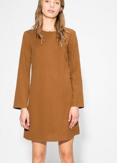 Flowy dress with crisscross straps at back, round neck and long sleeves. Cold Shoulder Dress, My Style, Outfits, Clothes, Dresses, Mango France, Women, Usa, Fashion