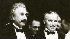 "Albert Einstein and Charlie Chaplin at the premiere of the movie ""City Lights"", Hollywood, California, 1931"