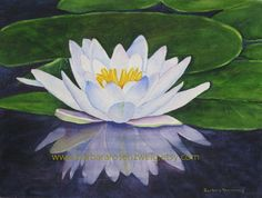 Water lilies have always been a favorite of mine! When I saw this one with its fabulous reflection, I just couldnt resist painting it. I hope that you will make this fine are print of my original watercolor painting part of the beauty of your home!  TITLE: White Water Lily MEDIUM: Watercolor MAT: White, with bevel cut, enclosed with print in clear protective plastic sleeve. Your matted and signed archival fine art print of my original watercolor painting is packaged securely and shipped flat…