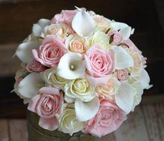 Quatang Gallery- Pink Roses Bouquets Real Touch Ivory Pink Blush Roses Calla Lilies Wedding Bouquets In 2020 Calla Lelie Bruiloft Boeket Bruiloft En Roos Boeket