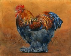 """""""Partridge Cochin Bantam"""", 8 x 10"""", acrylic/copper leaf"""