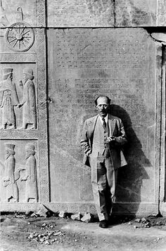 Persepolis Portrait of Dr. Ernst Herzfeld, Field Director of the Persepolis Expedition of The Oriental Institute, photographed in front of Persepolis reliefs by James Henry Breasted, Jr 2 23 1933