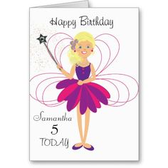 Age 4 happy 4th birthday card for girls by sugarushuk 750 four cute fairy personalized birthday card age and name greeting cards this pink and purple fairy bookmarktalkfo Image collections