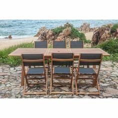 Salon de jardin bois Porquerolles 1 table ovale 190/230CM + 6 ...