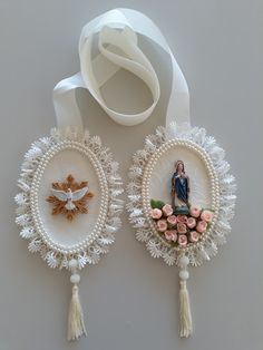 Home Altar, Catholic Jewelry, Book Markers, Rakhi, Pin Cushions, Party Favors, Christmas Diy, Mixed Media, Crochet Patterns