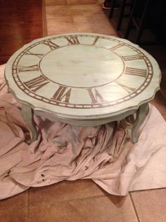 Old Coffee Table Made Into A Shabby Chic Table With A Distressed Roman Numeral Clock Face